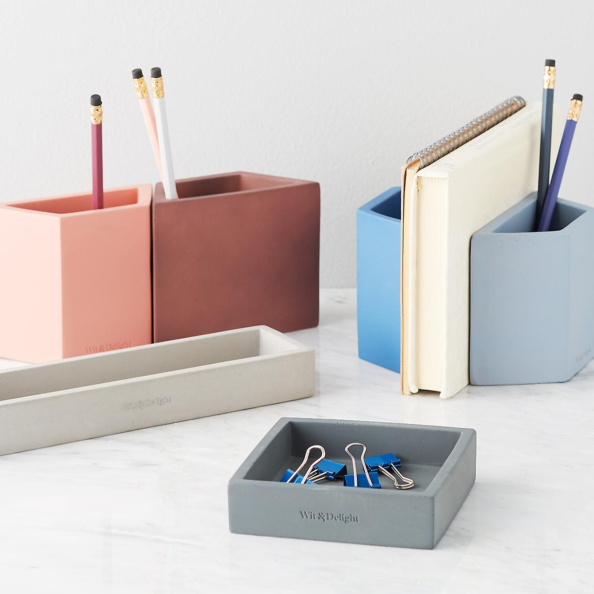 clay geometric pencil holders