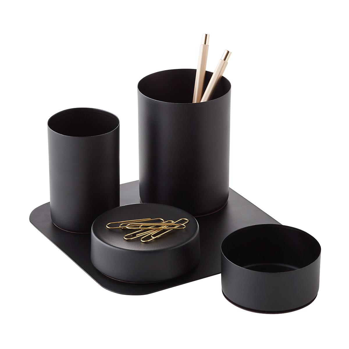 matte black magnetic desk storage set