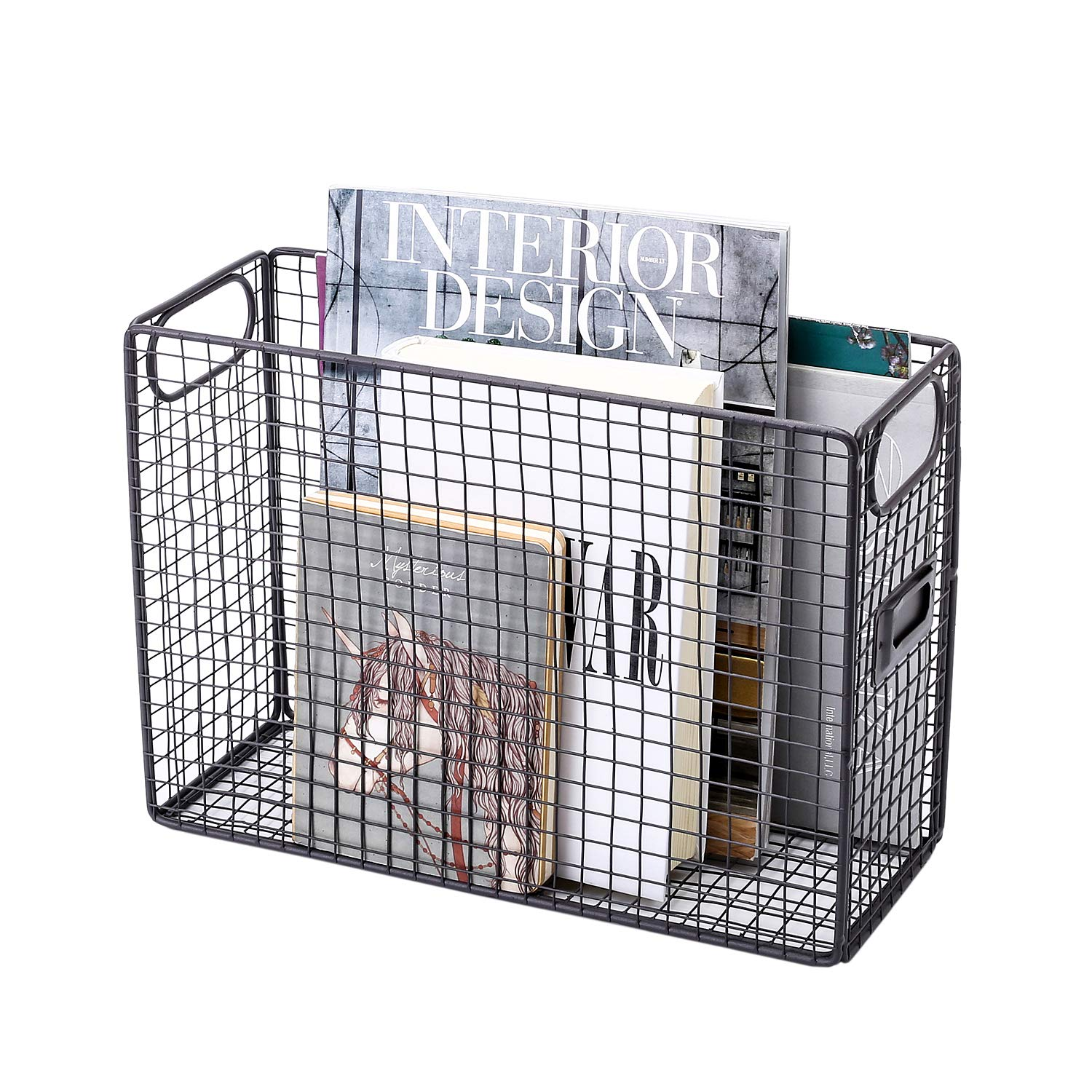 wire crate magazine holder for desk